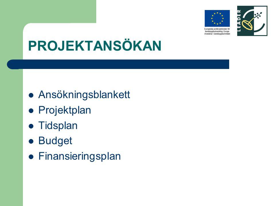PROJEKTANSÖKAN Ansökningsblankett Projektplan Tidsplan Budget Finansieringsplan