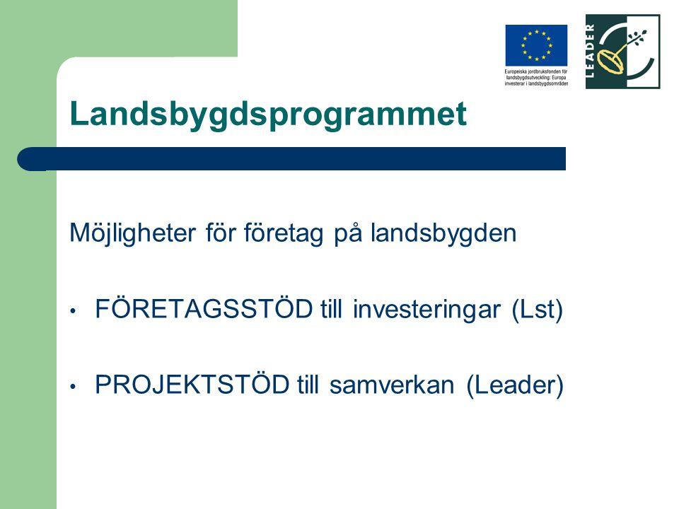 Landsbygdsprogrammet Möjligheter för företag på landsbygden FÖRETAGSSTÖD till investeringar (Lst) PROJEKTSTÖD till samverkan (Leader)