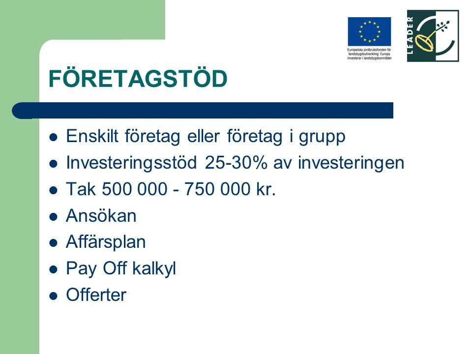 FÖRETAGSTÖD Enskilt företag eller företag i grupp Investeringsstöd 25-30% av investeringen Tak 500 000 - 750 000 kr. Ansökan Affärsplan Pay Off kalkyl