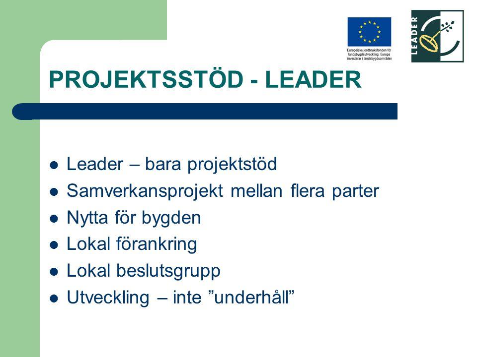 PROJEKTSSTÖD - LEADER Leader – bara projektstöd Samverkansprojekt mellan flera parter Nytta för bygden Lokal förankring Lokal beslutsgrupp Utveckling