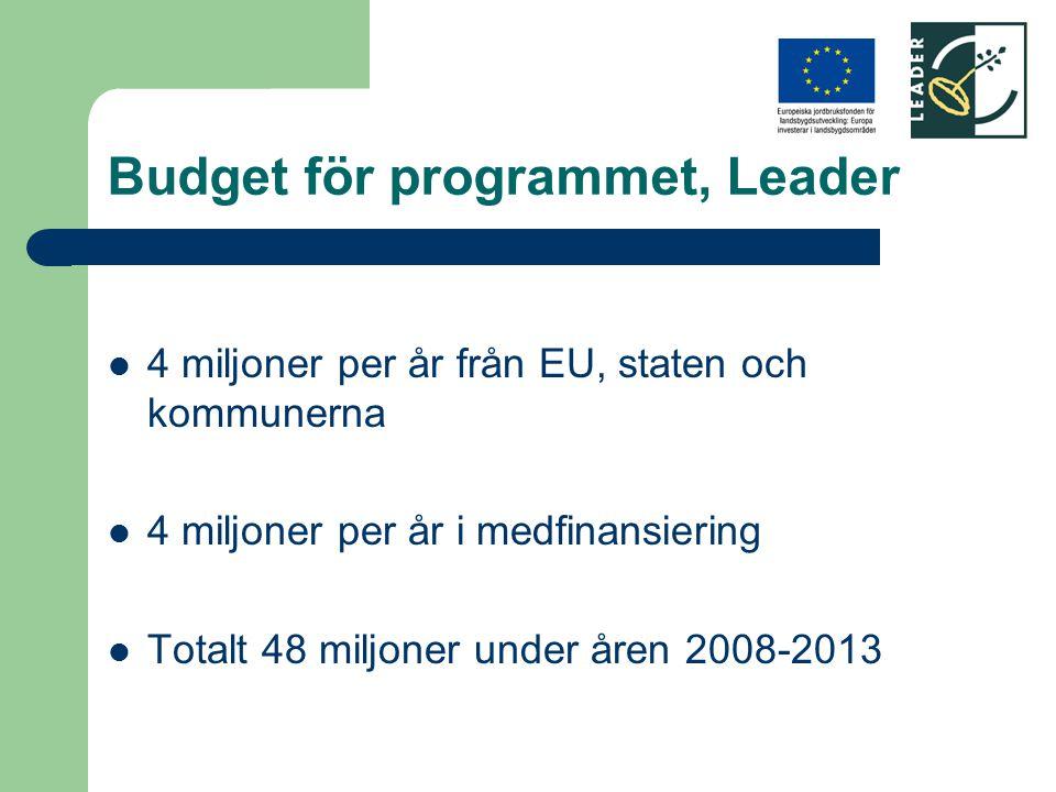 Budget för programmet, Leader 4 miljoner per år från EU, staten och kommunerna 4 miljoner per år i medfinansiering Totalt 48 miljoner under åren 2008-