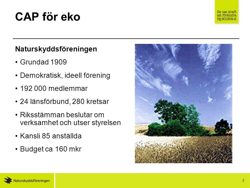 3 CAP för eko Behövs politiken.