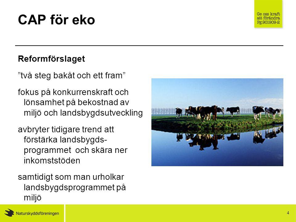 CAP för eko Reformen innebär: Budgetökning Miljökrav på inkomststöden – förgröning Omfördelning Försäkringsåtgärder Knappast förenkling 5