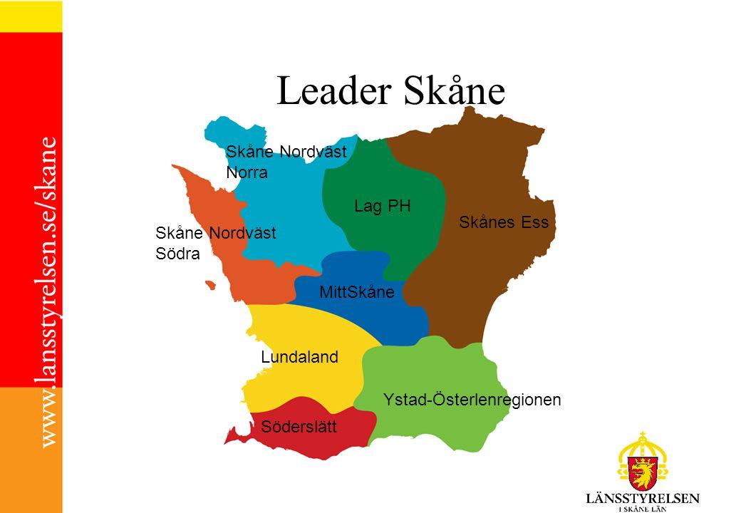 Skåne Nordväst Norra Skåne Nordväst Södra Lag PH Skånes Ess MittSkåne Lundaland Ystad-Österlenregionen Söderslätt Leader Skåne