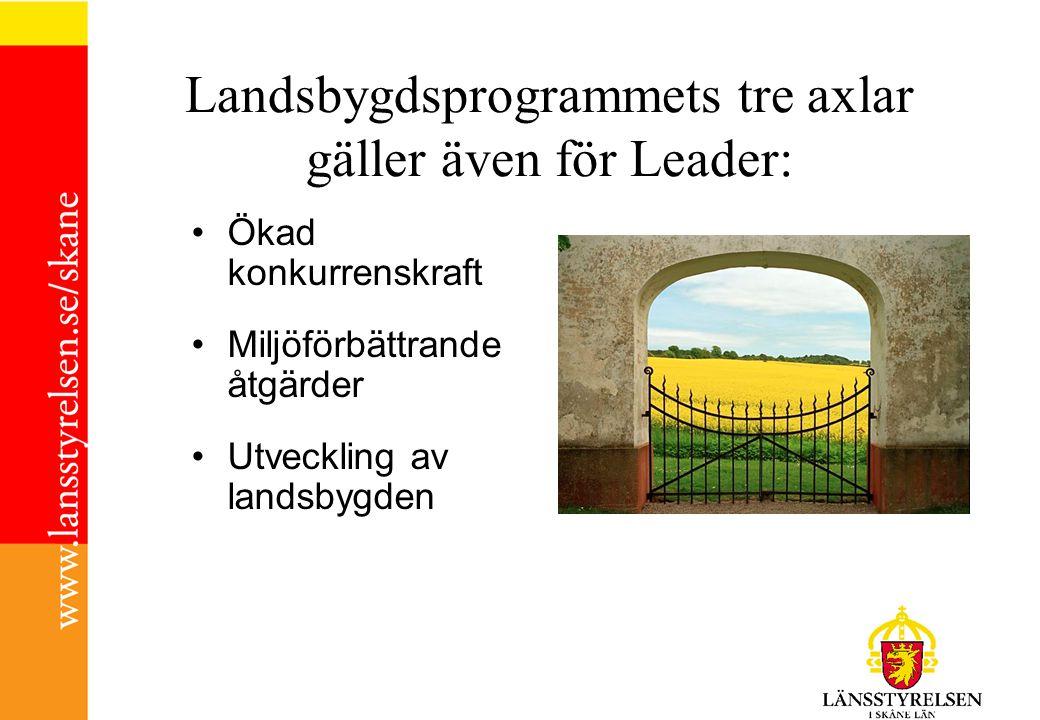 Landsbygdsprogrammets tre axlar gäller även för Leader: Ökad konkurrenskraft Miljöförbättrande åtgärder Utveckling av landsbygden