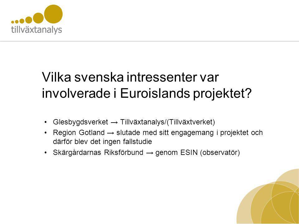 Vilka svenska intressenter var involverade i Euroislands projektet? Glesbygdsverket → Tillväxtanalys/(Tillväxtverket) Region Gotland → slutade med sit