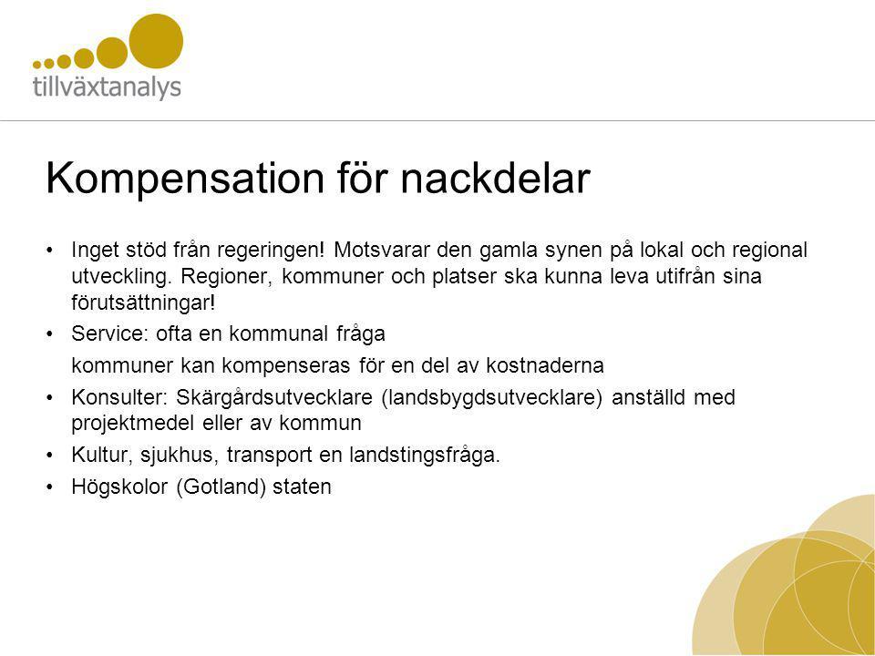 Kompensation för nackdelar Inget stöd från regeringen.