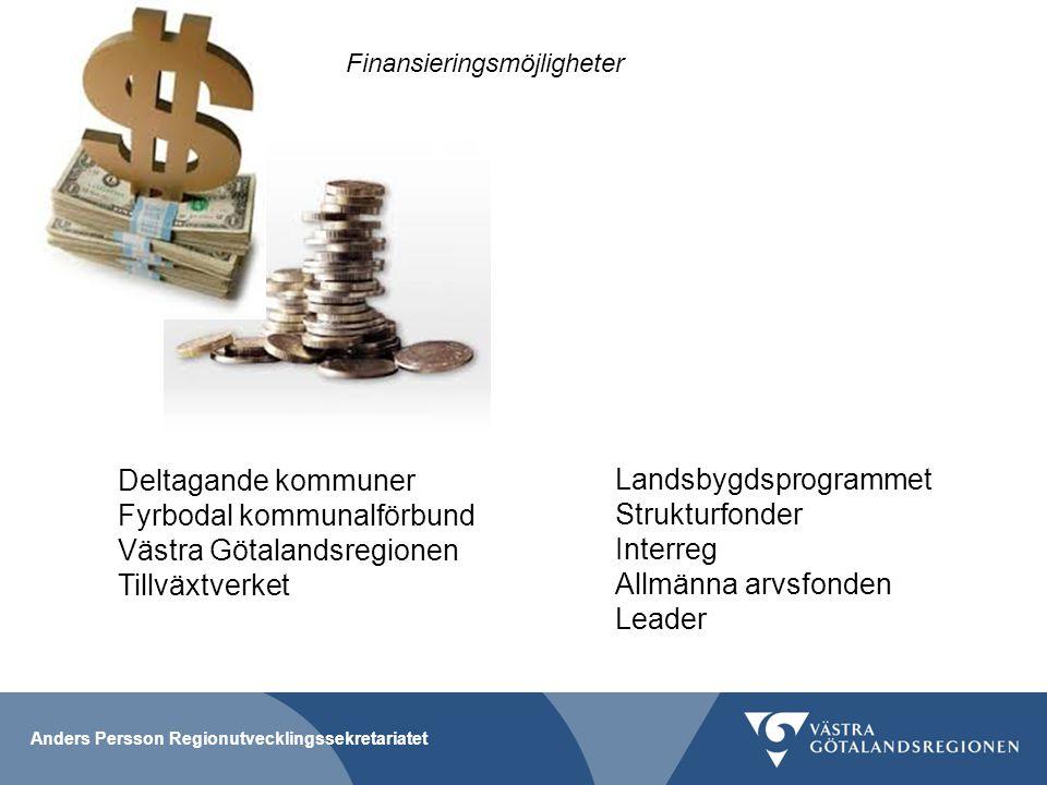 Anders Persson Regionutvecklingssekretariatet Finansieringsmöjligheter Deltagande kommuner Fyrbodal kommunalförbund Västra Götalandsregionen Tillväxtv