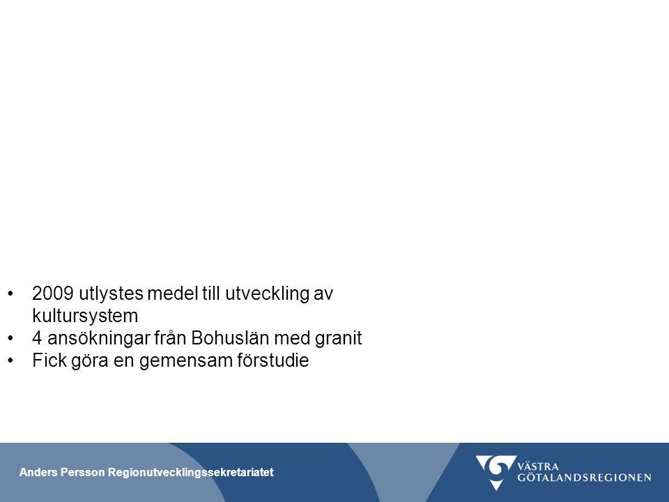 Anders Persson Regionutvecklingssekretariatet Infomöte 2014 med kultur- och näringslivsansvariga i Fyrbodal för information om HP Vi hade då fått in 2-3 olika ansökningar med granit Bjöd in 5 kommuner för överläggningar ihop med Västarvet och Fyrbodal kommunalförbund Kan man göra något gemensamt för att bättre kunna växla upp medel Kan man lyfta tillsammans