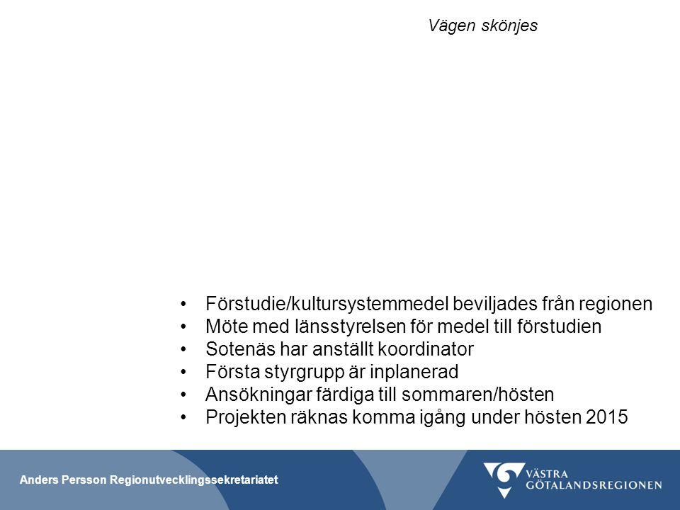 Anders Persson Regionutvecklingssekretariatet Förstudie/kultursystemmedel beviljades från regionen Möte med länsstyrelsen för medel till förstudien So