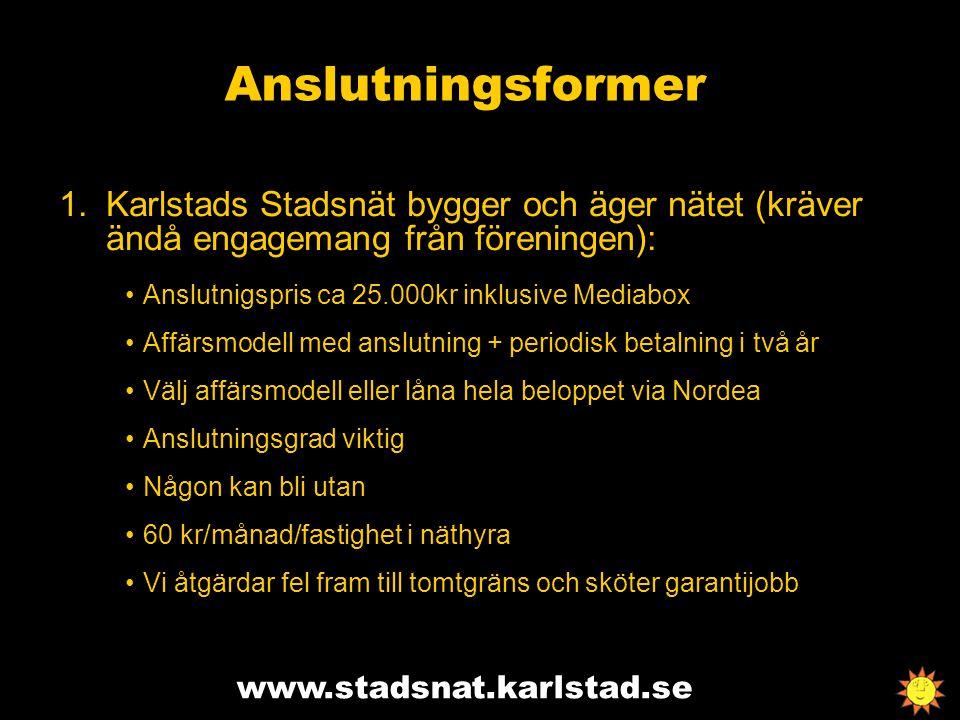 www.stadsnat.karlstad.se Anslutningsformer 1.Karlstads Stadsnät bygger och äger nätet (kräver ändå engagemang från föreningen): Anslutnigspris ca 25.0