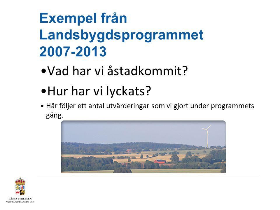 Exempel från Landsbygdsprogrammet 2007-2013 Vad har vi åstadkommit.