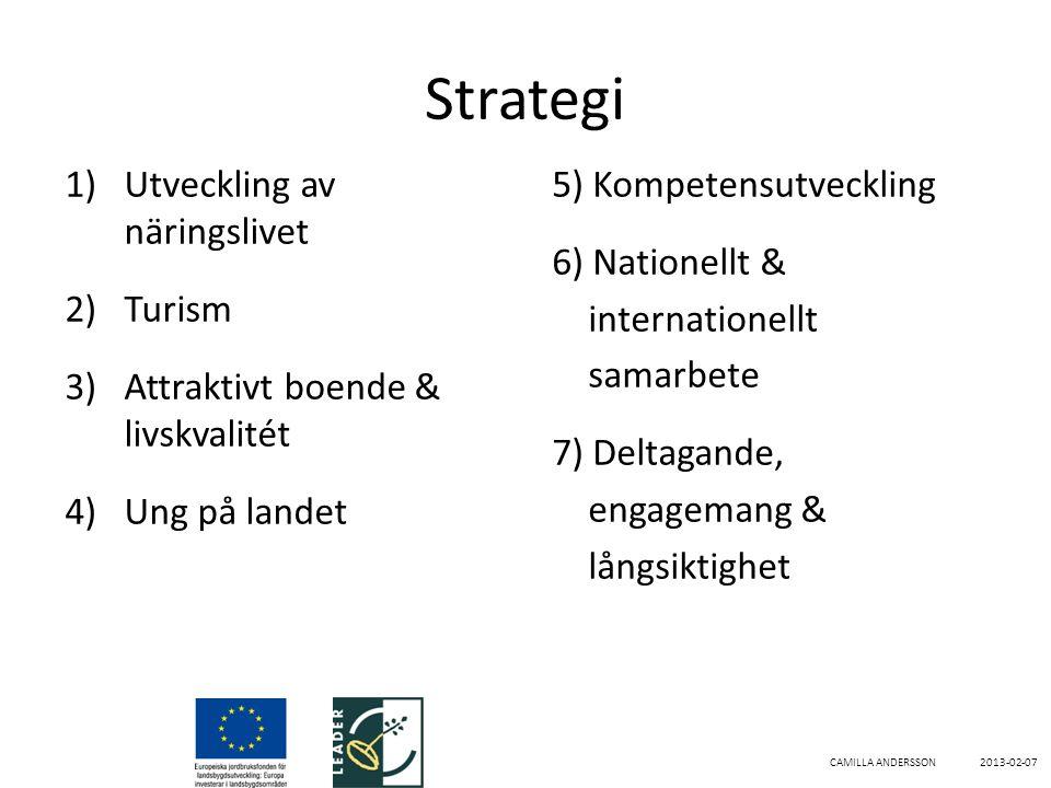 Strategi 1)Utveckling av näringslivet 2)Turism 3)Attraktivt boende & livskvalitét 4)Ung på landet 5) Kompetensutveckling 6) Nationellt & internationellt samarbete 7) Deltagande, engagemang & långsiktighet CAMILLA ANDERSSON 2013-02-07