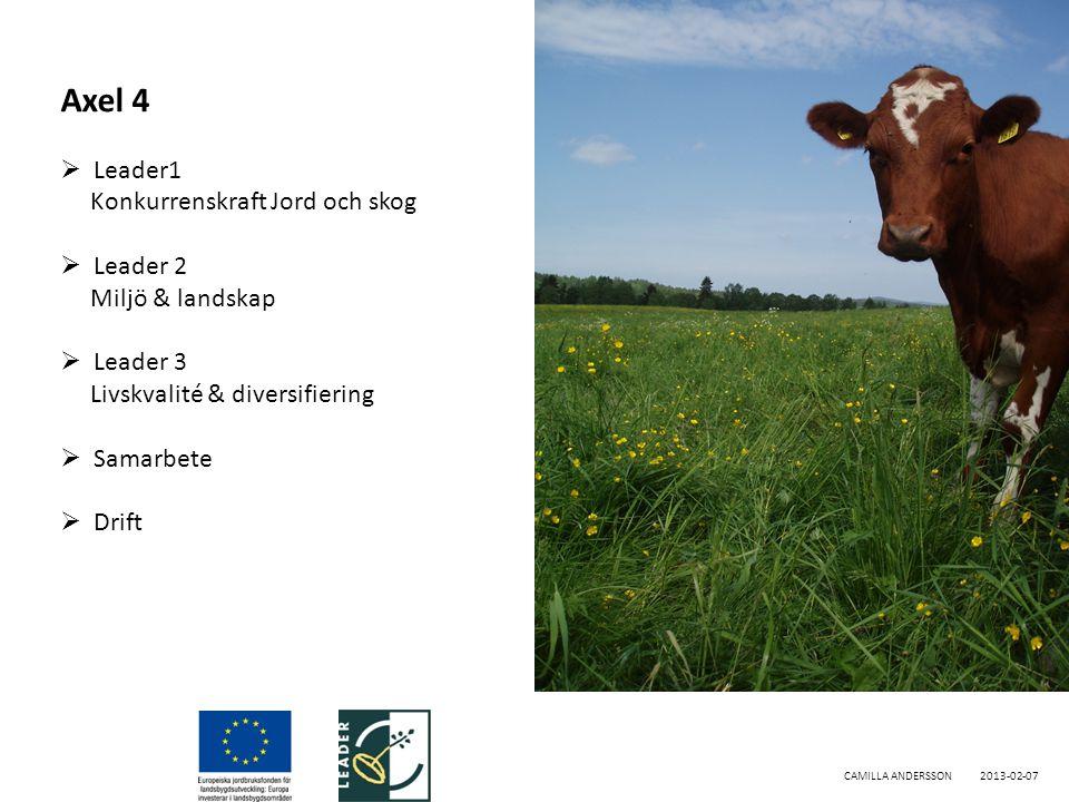 CAMILLA ANDERSSON2013-02-07 Axel 4  Leader1 Konkurrenskraft Jord och skog  Leader 2 Miljö & landskap  Leader 3 Livskvalité & diversifiering  Samarbete  Drift