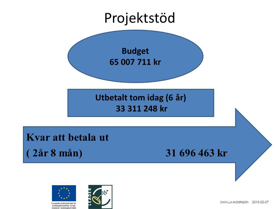Projektstöd 2013-02-07 CAMILLA ANDERSSON Kvar att betala ut ( 2år 8 mån)31 696 463 kr Budget 65 007 711 kr Utbetalt tom idag (6 år) 33 311 248 kr