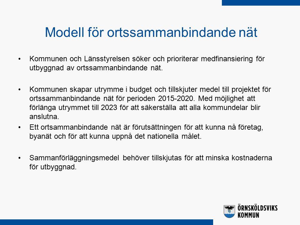 Modell för ortssammanbindande nät Kommunen och Länsstyrelsen söker och prioriterar medfinansiering för utbyggnad av ortssammanbindande nät.