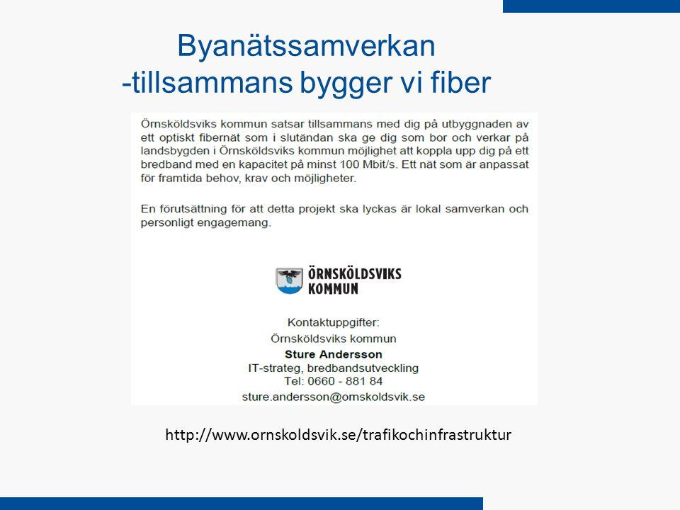 Byanätssamverkan -tillsammans bygger vi fiber http://www.ornskoldsvik.se/trafikochinfrastruktur