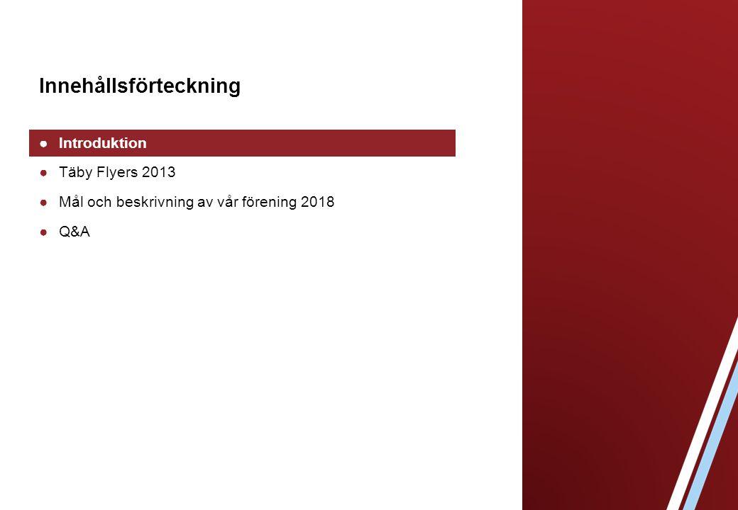 Innehållsförteckning ●Introduktion ●Täby Flyers 2013 ●Mål och beskrivning av vår förening 2018 ●Q&A