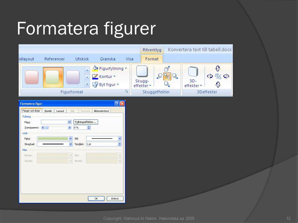 Formatera figurer Copyright, Mahmud Al Hakim, Hakimdata.se 200812