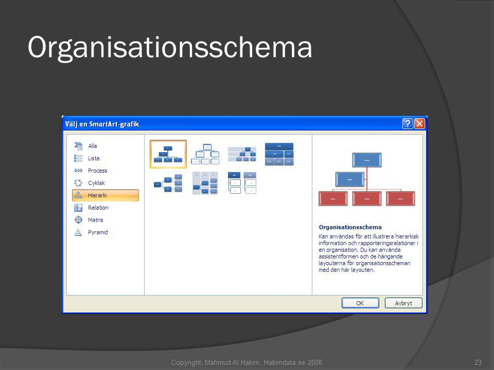 Organisationsschema Copyright, Mahmud Al Hakim, Hakimdata.se 200823