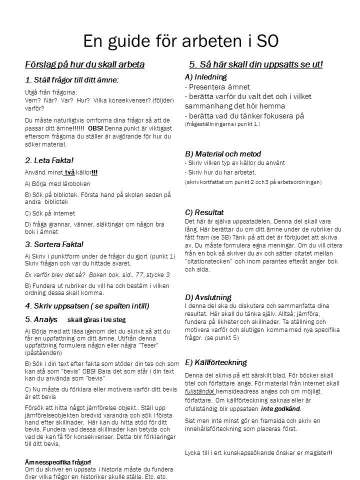A) Inledning - Presentera ämnet - berätta varför du valt det och i vilket sammanhang det hör hemma - berätta vad du tänker fokusera på (frågeställningarna i punkt 1.) B) Material och metod - Skriv vilken typ av källor du använt - Skriv hur du har arbetat.