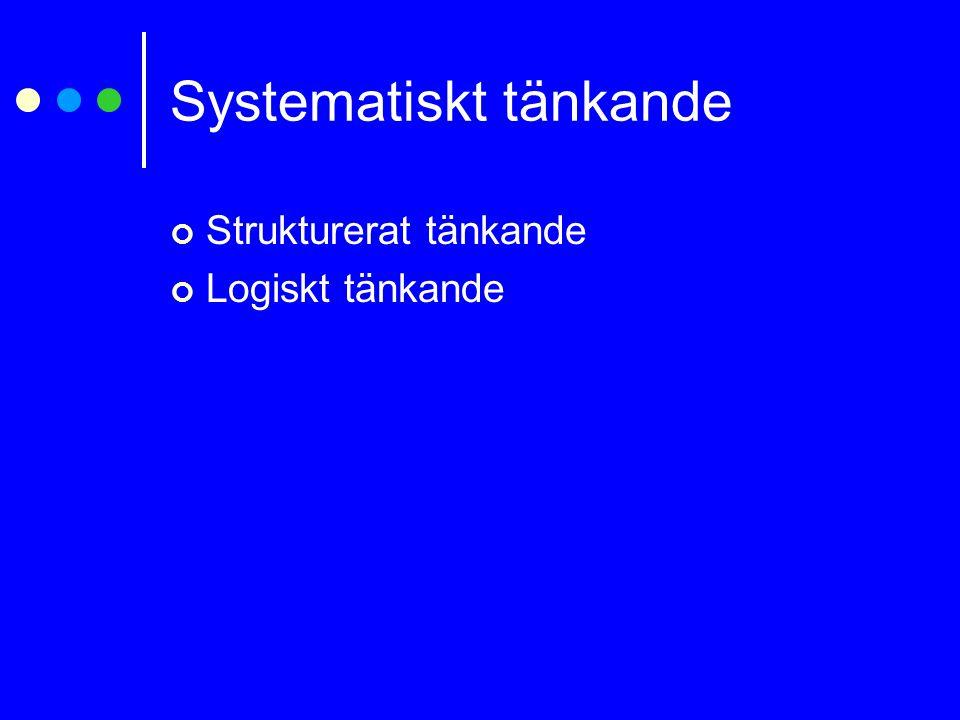 Systematiskt tänkande Strukturerat tänkande Logiskt tänkande