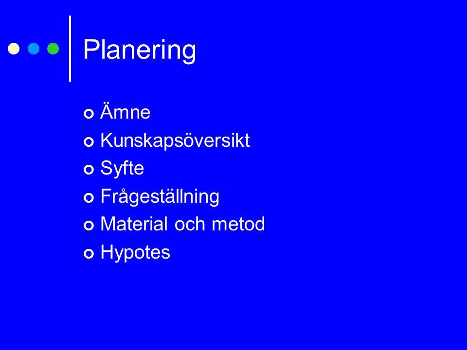 Planering Ämne Kunskapsöversikt Syfte Frågeställning Material och metod Hypotes