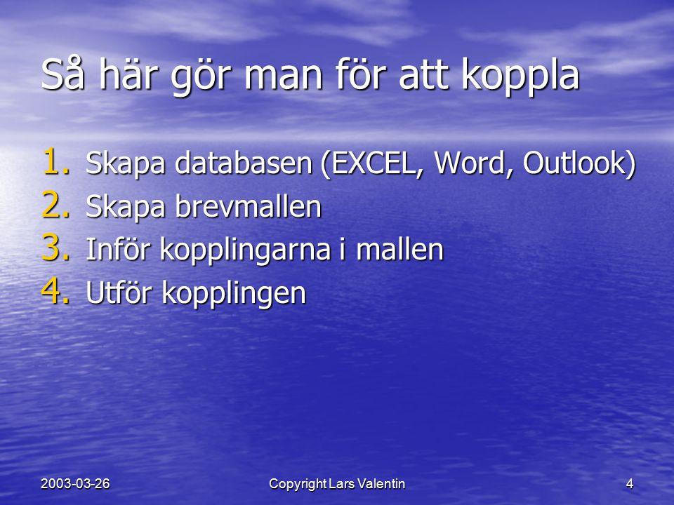 2003-03-26Copyright Lars Valentin5 1. Skapa databasen