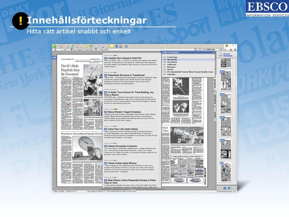 ! Innehållsförteckningar Hitta rätt artikel snabbt och enkelt