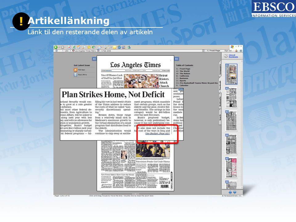 ! Artikellänkning Länk til den resterande delen av artikeln