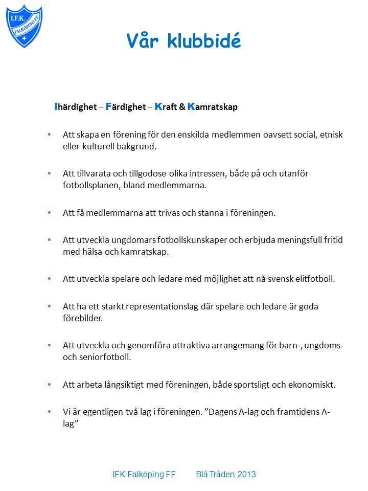 Vår klubbidé I härdighet – F ärdighet – K raft & K amratskap Att skapa en förening för den enskilda medlemmen oavsett social, etnisk eller kulturell bakgrund.