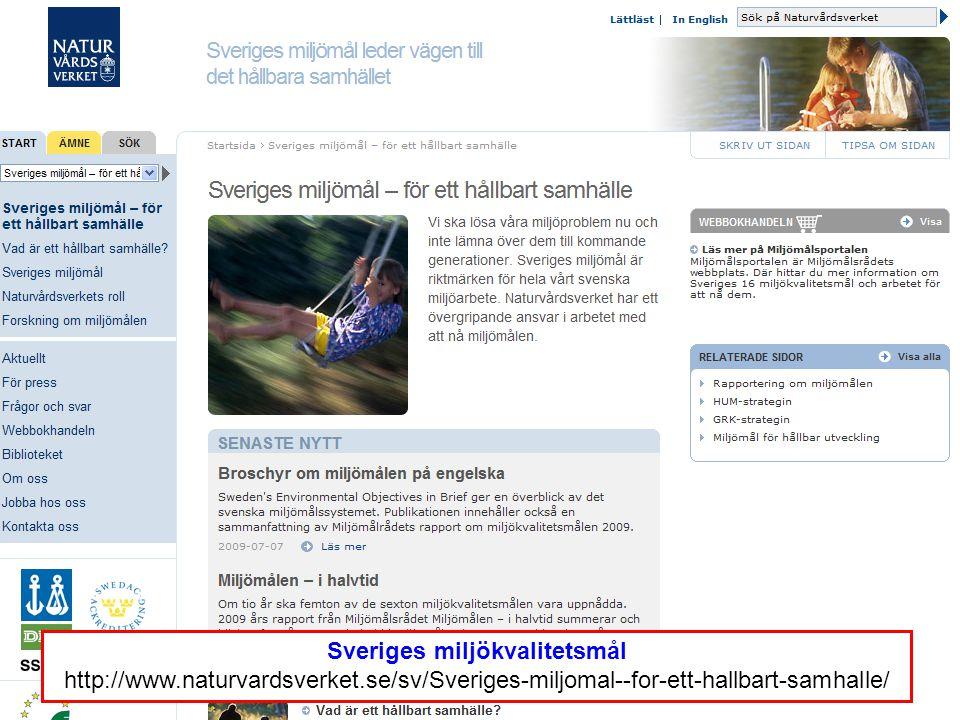 Sveriges miljökvalitetsmål http://www.naturvardsverket.se/sv/Sveriges-miljomal--for-ett-hallbart-samhalle/