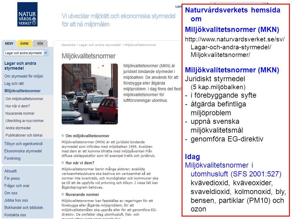 Naturvårdsverkets hemsida om Miljökvalitetsnormer (MKN) http://www.naturvardsverket.se/sv/ Lagar-och-andra-styrmedel/ Miljokvalitetsnormer/ Miljökvali