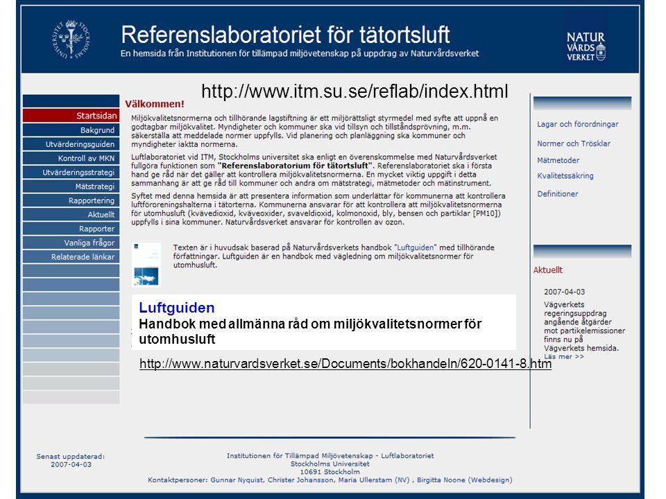 http://www.itm.su.se/reflab/index.html http://www.naturvardsverket.se/Documents/bokhandeln/620-0141-8.htm Luftguiden Handbok med allmänna råd om miljö