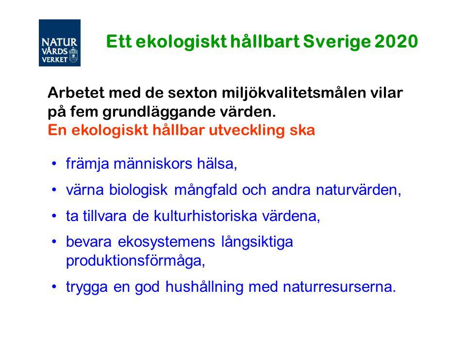 Arbetet med de sexton miljökvalitetsmålen vilar på fem grundläggande värden. En ekologiskt hållbar utveckling ska främja människors hälsa, värna biolo