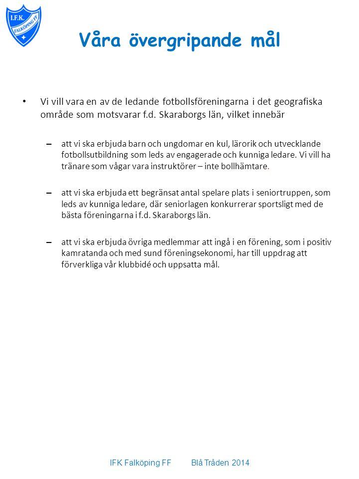 Våra övergripande mål Vi vill vara en av de ledande fotbollsföreningarna i det geografiska område som motsvarar f.d. Skaraborgs län, vilket innebär –