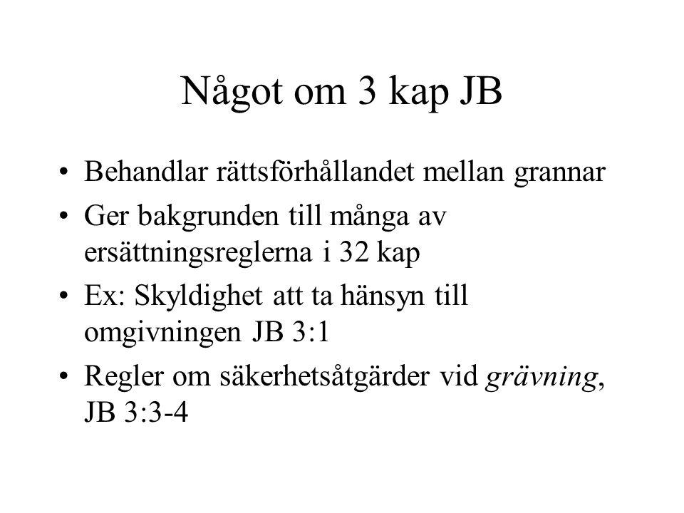 Något om 3 kap JB Behandlar rättsförhållandet mellan grannar Ger bakgrunden till många av ersättningsreglerna i 32 kap Ex: Skyldighet att ta hänsyn till omgivningen JB 3:1 Regler om säkerhetsåtgärder vid grävning, JB 3:3-4