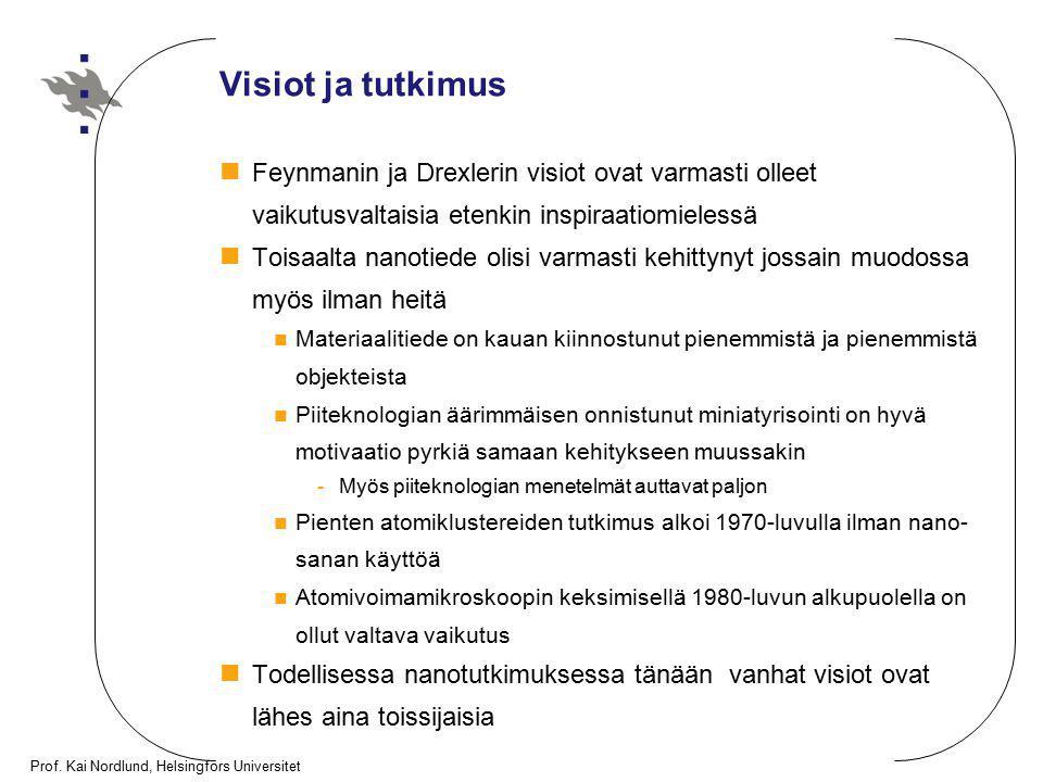 Prof. Kai Nordlund, Helsingfors Universitet Visiot ja tutkimus Feynmanin ja Drexlerin visiot ovat varmasti olleet vaikutusvaltaisia etenkin inspiraati