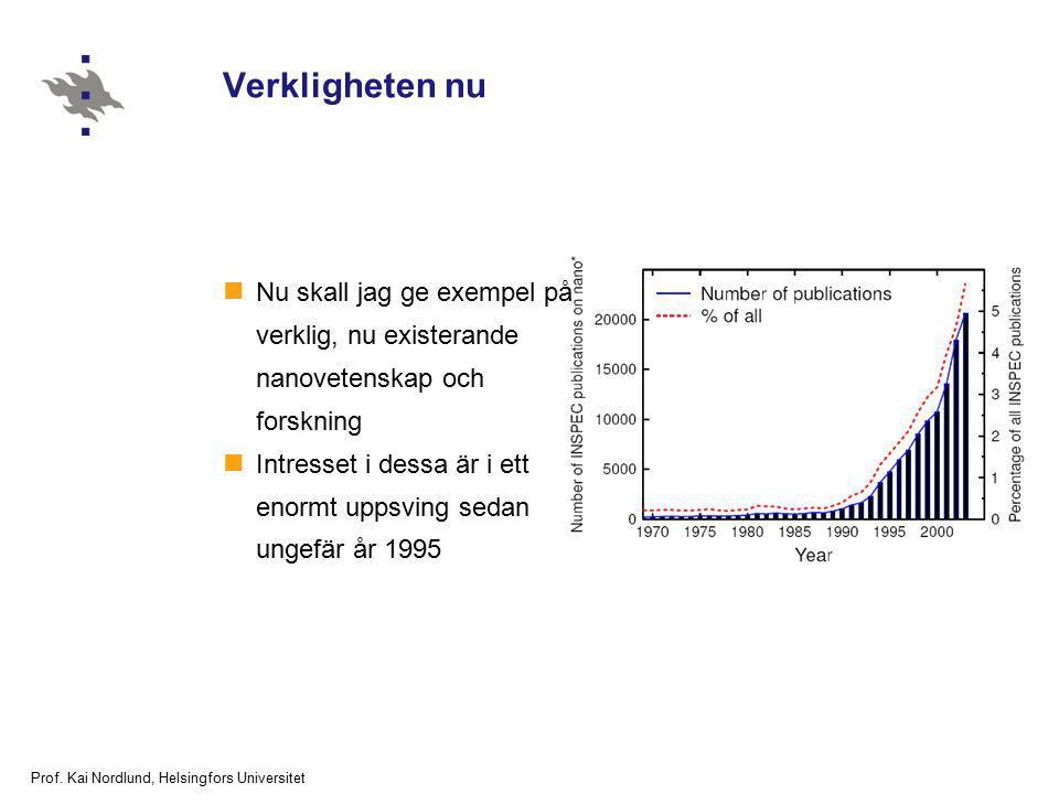 Prof. Kai Nordlund, Helsingfors Universitet Verkligheten nu Nu skall jag ge exempel på verklig, nu existerande nanovetenskap och forskning Intresset i