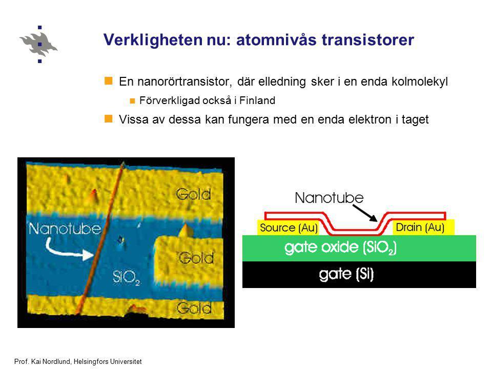 Prof. Kai Nordlund, Helsingfors Universitet Verkligheten nu: atomnivås transistorer En nanorörtransistor, där elledning sker i en enda kolmolekyl Förv