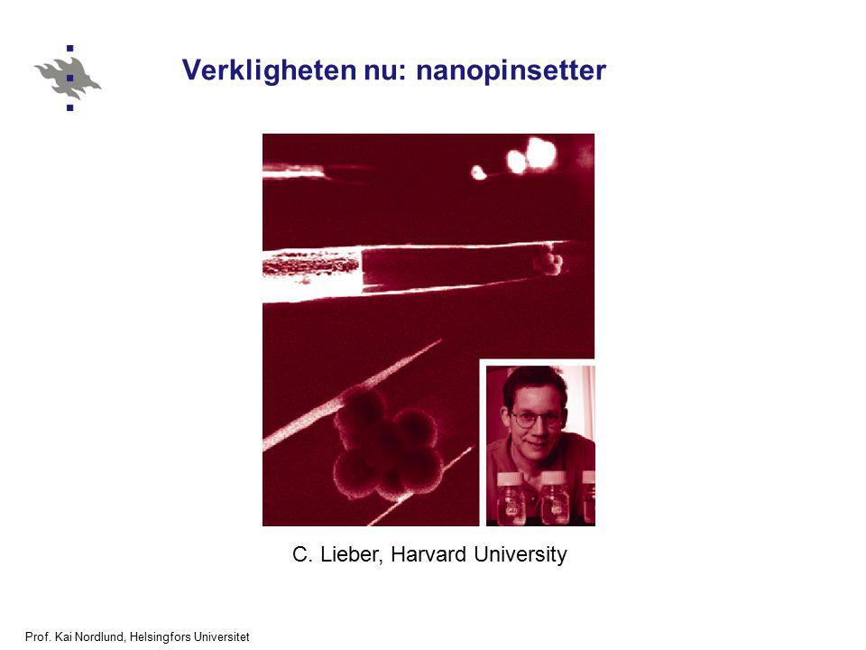 Prof. Kai Nordlund, Helsingfors Universitet Verkligheten nu: nanopinsetter C. Lieber, Harvard University