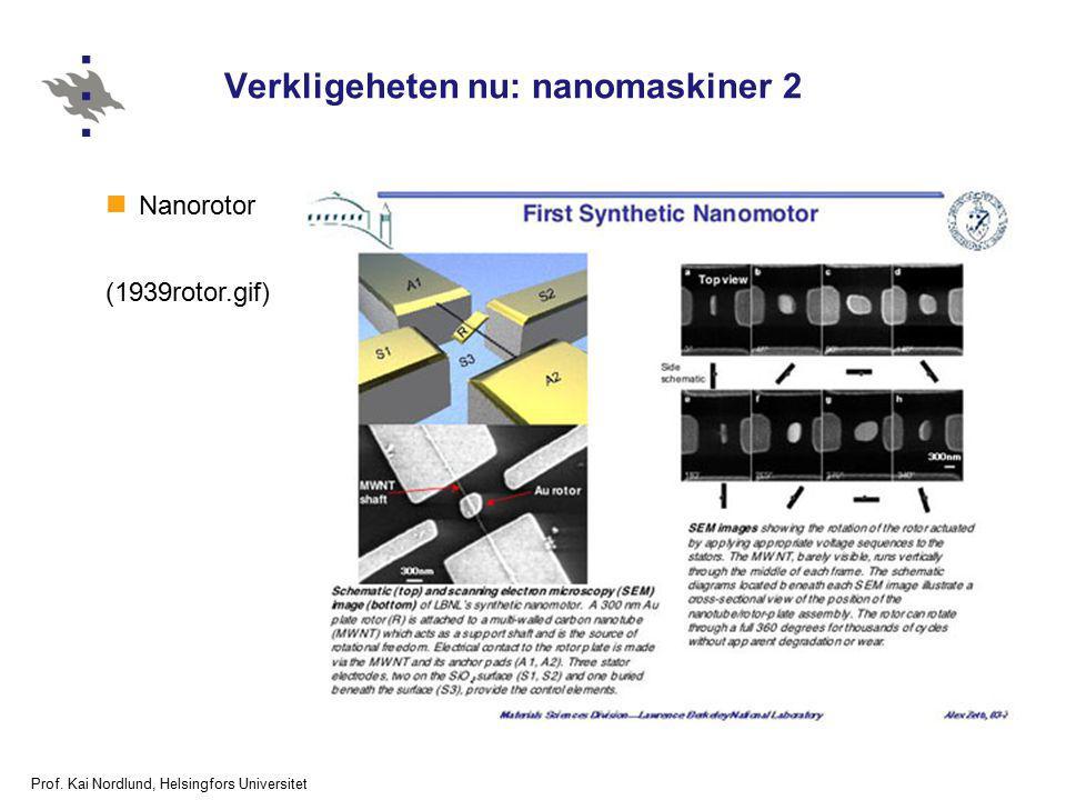 Prof. Kai Nordlund, Helsingfors Universitet Verkligeheten nu: nanomaskiner 2 Nanorotor (1939rotor.gif)