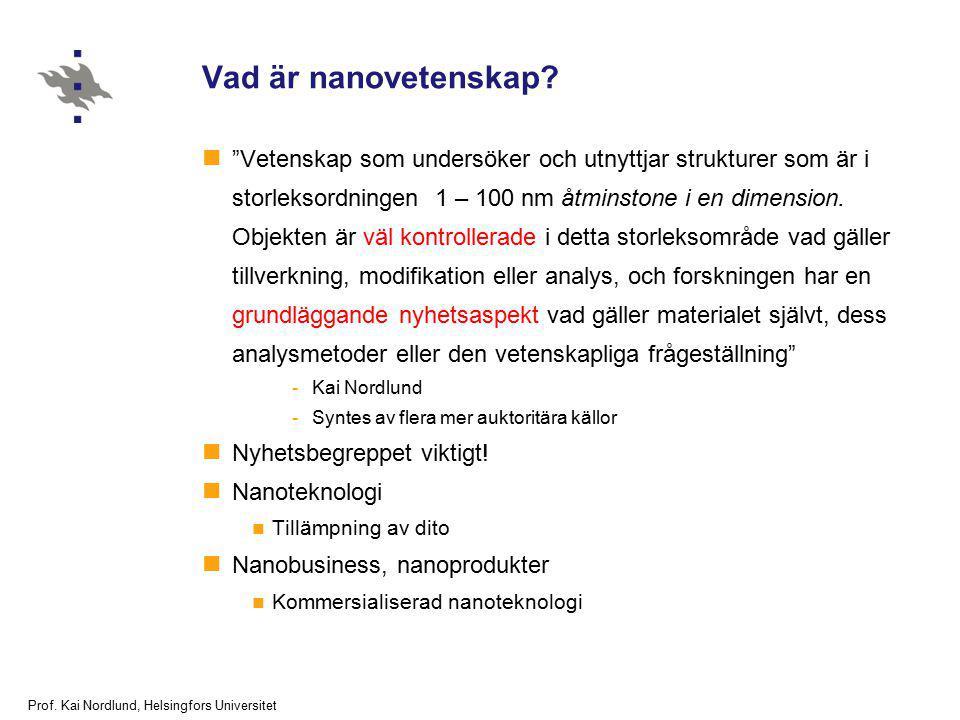 """Prof. Kai Nordlund, Helsingfors Universitet Vad är nanovetenskap? """"Vetenskap som undersöker och utnyttjar strukturer som är i storleksordningen 1 – 10"""