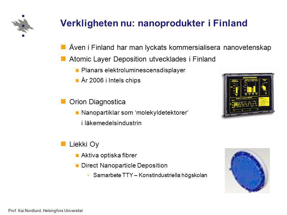 Prof. Kai Nordlund, Helsingfors Universitet Verkligheten nu: nanoprodukter i Finland Även i Finland har man lyckats kommersialisera nanovetenskap Atom