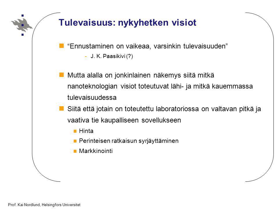 """Prof. Kai Nordlund, Helsingfors Universitet Tulevaisuus: nykyhetken visiot """"Ennustaminen on vaikeaa, varsinkin tulevaisuuden"""" -J. K. Paasikivi (?) Mut"""