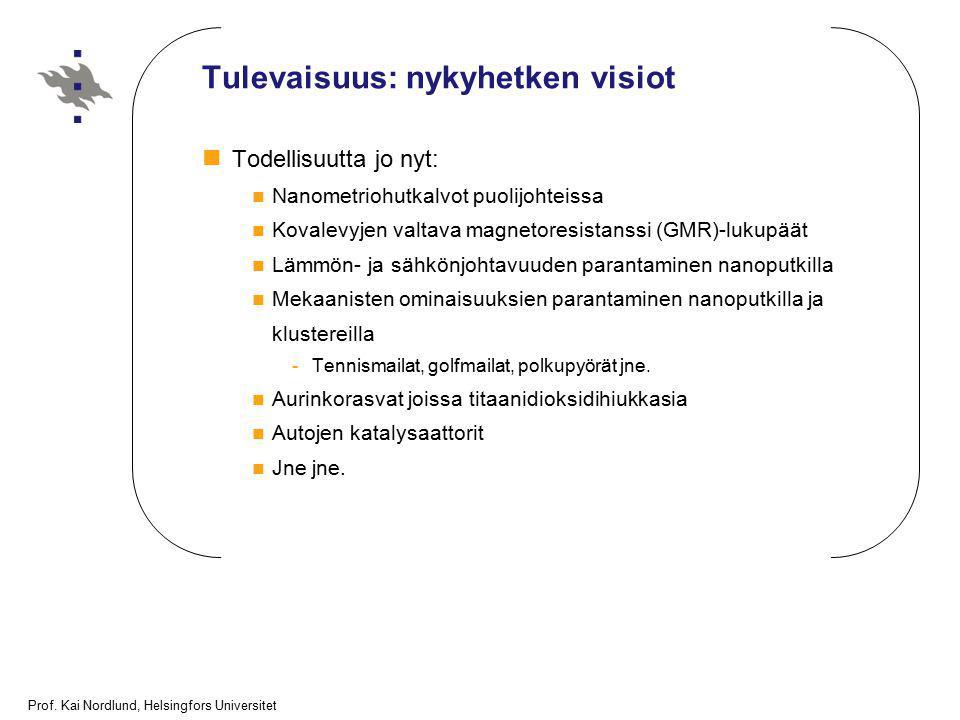 Prof. Kai Nordlund, Helsingfors Universitet Tulevaisuus: nykyhetken visiot Todellisuutta jo nyt: Nanometriohutkalvot puolijohteissa Kovalevyjen valtav