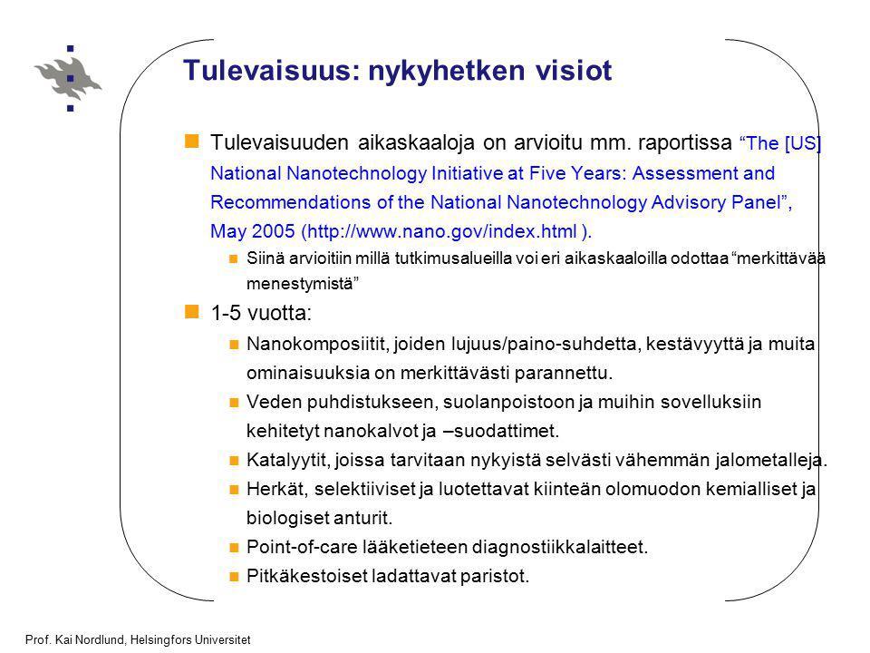 """Prof. Kai Nordlund, Helsingfors Universitet Tulevaisuus: nykyhetken visiot Tulevaisuuden aikaskaaloja on arvioitu mm. raportissa """"The [US] National Na"""