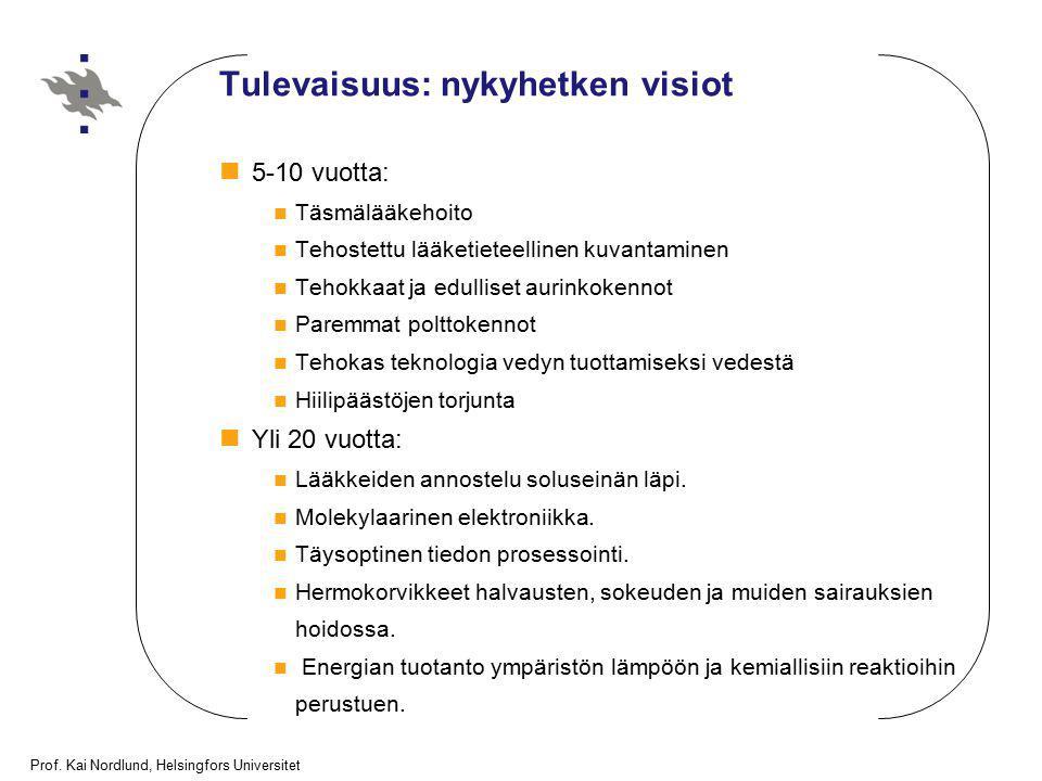 Prof. Kai Nordlund, Helsingfors Universitet Tulevaisuus: nykyhetken visiot 5-10 vuotta: Täsmälääkehoito Tehostettu lääketieteellinen kuvantaminen Teho
