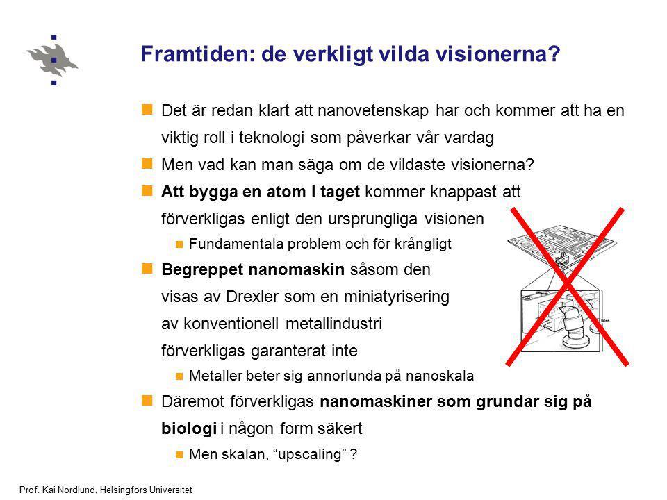 Prof. Kai Nordlund, Helsingfors Universitet Framtiden: de verkligt vilda visionerna? Det är redan klart att nanovetenskap har och kommer att ha en vik