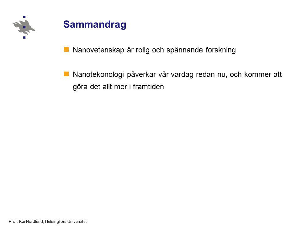 Prof. Kai Nordlund, Helsingfors Universitet Sammandrag Nanovetenskap är rolig och spännande forskning Nanotekonologi påverkar vår vardag redan nu, och